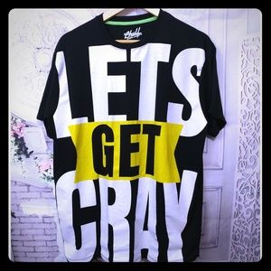 Let's Get Cray Spell-out Black Yellow Tee Shirt XL